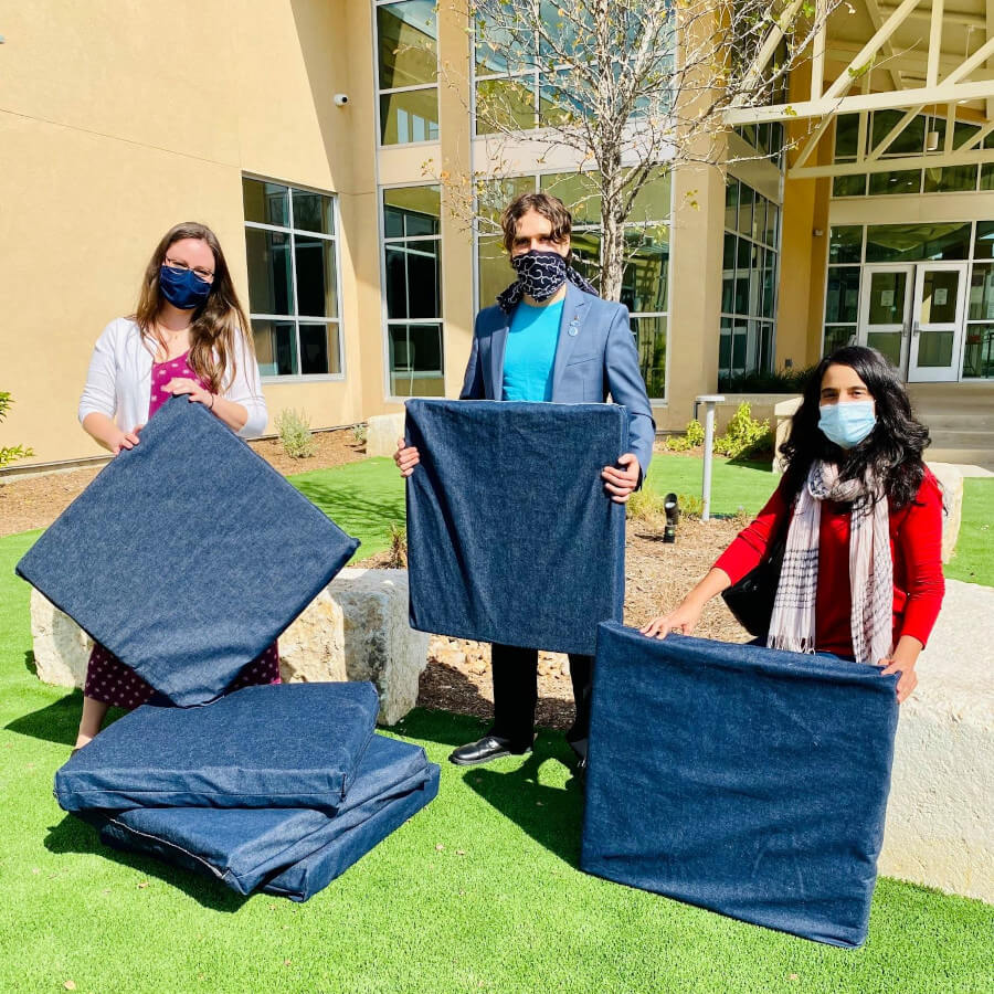 San Antonio Humane Society donating pet bed made from recycled mattresses
